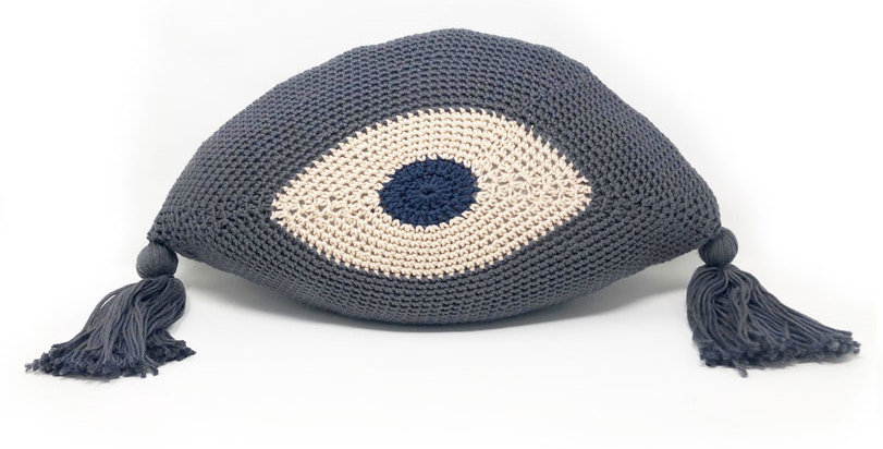 Evil Eye Pillow / Grey