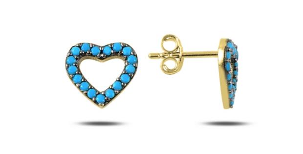 Turquoise Open Heart Studs