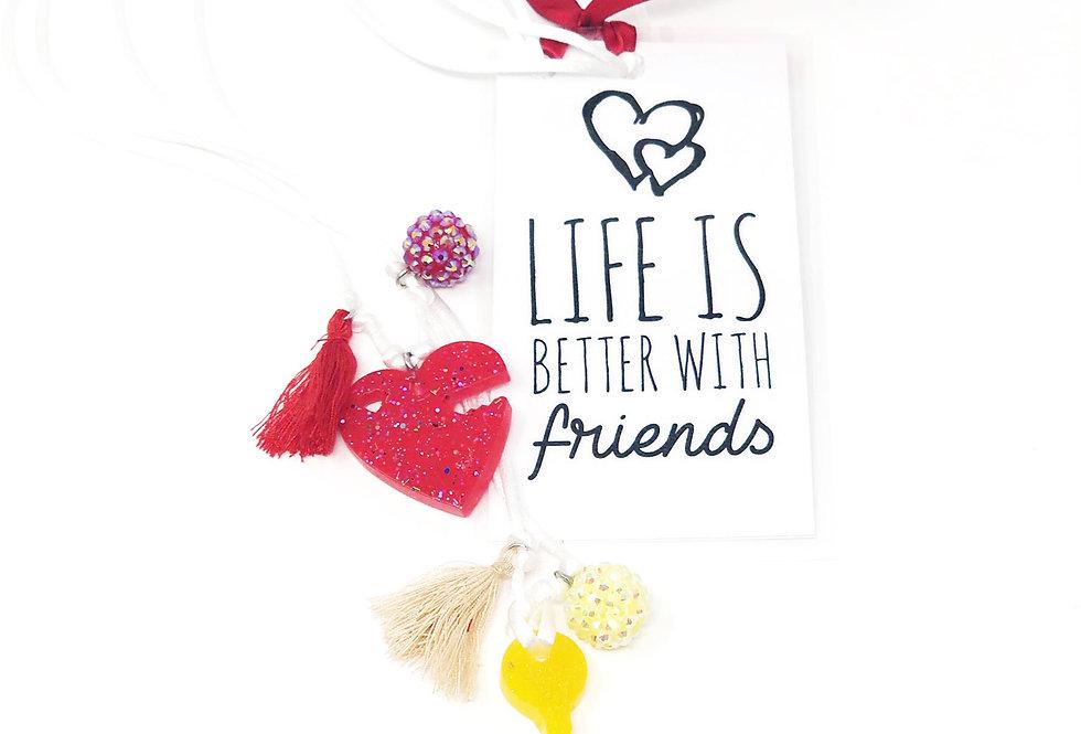 Heart + Key Necklace Set + Bookmark