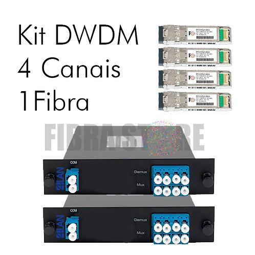 KIT DWDM 4 Canais para 1 Fibra (MUX/DEMUX + SFP+ DWDM)
