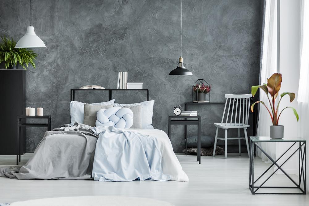 gray bedroom design theme