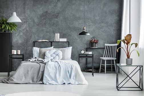 現代臥室與黑牆
