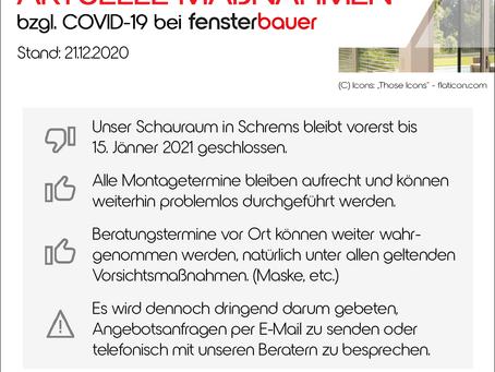 Aktuelle COVID Maßnahmen Stand 21.12.2020