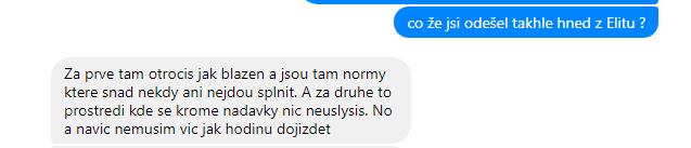 Výmluvná internetová konverzace s jedním z mých bývalých kolegů, co končil po mě