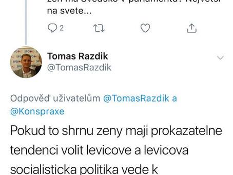 Asistent poslance Volného (SPD) vidí své politické nepřátele v ženách. Je třeba revoluční odpovědi.