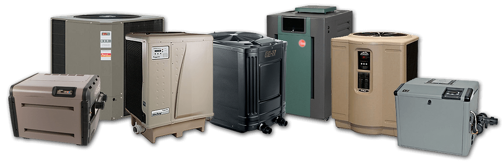 Swimming pool heaters and swimming pool heat pumps from Pentair, Hayward, Jandy, Rheem, and Raypak