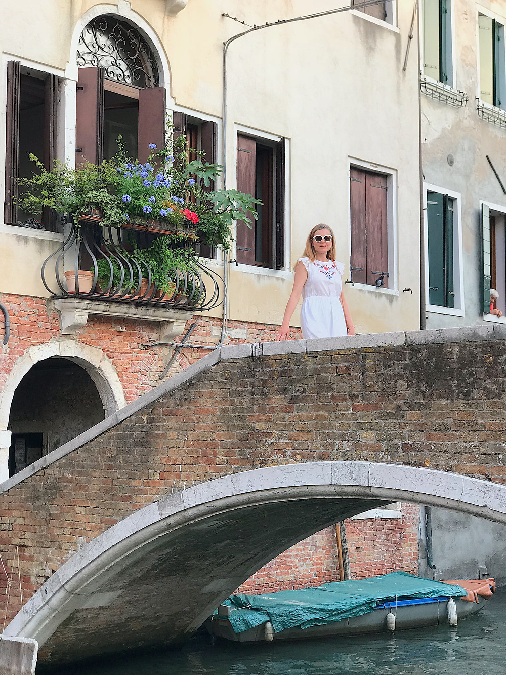 woman on bridge in Venice
