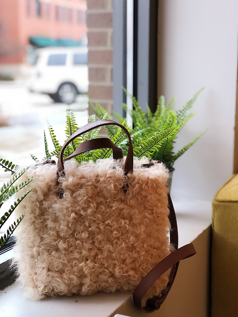shearling tote bag