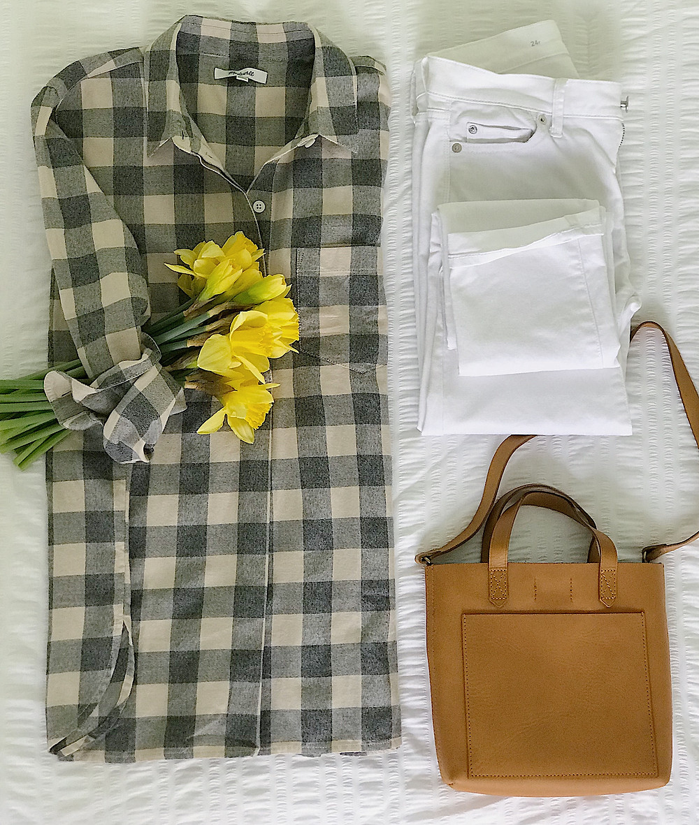 plaid top, white jeans, bag, daffodils