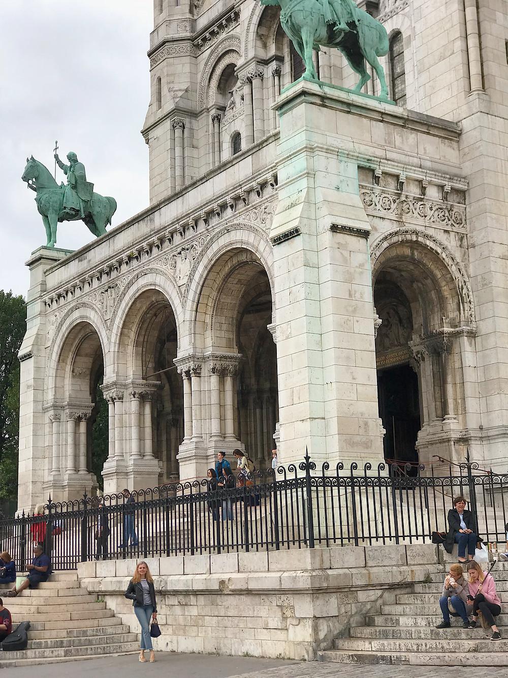 woman next to Sacre-Coeur