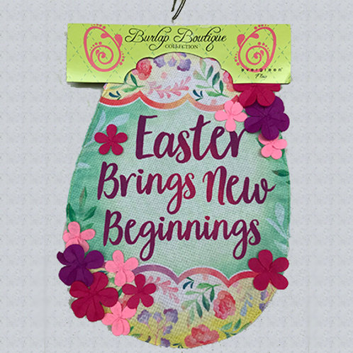 """Easter Brings New Beginnings"" Burlap Garden Flag"