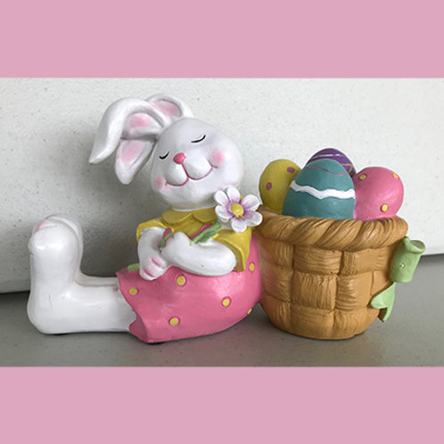 Girl Bunny with Egg Basket Figurine