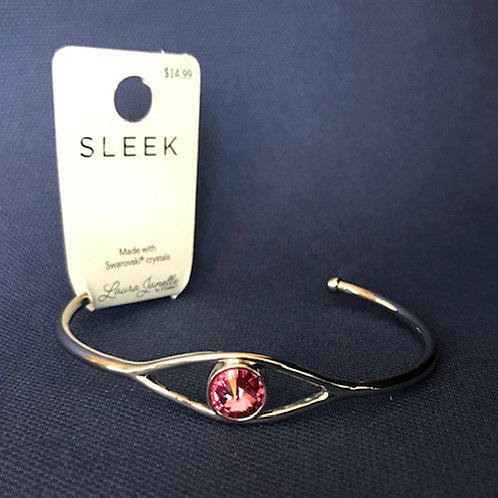 NJ014Open Bangle with One Pink Crystal