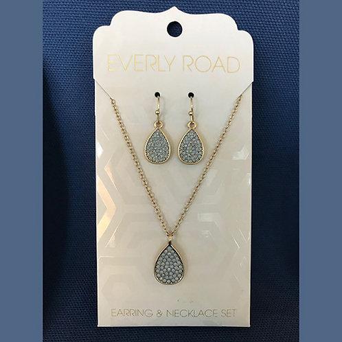 NJ023  Pavé Blue Stones Necklace & Earring Set w/Teardrop Shapes