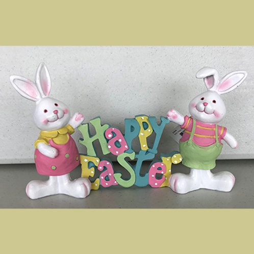 Happy Easter with Two Bunnies Figurine