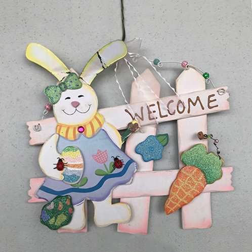 Wooden Welcome Sign with Bunny