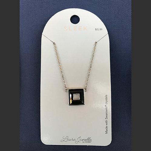 NJ007Black Crystal Square Necklace