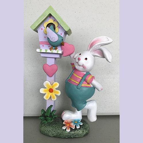 Bunny with Birdhouse Figurine