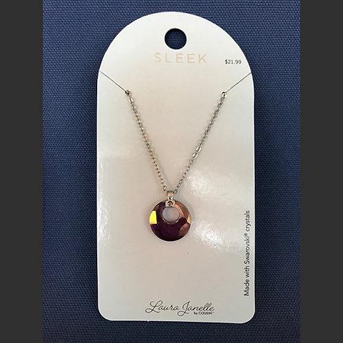NJ011Amethyst Crystal Circle Necklace