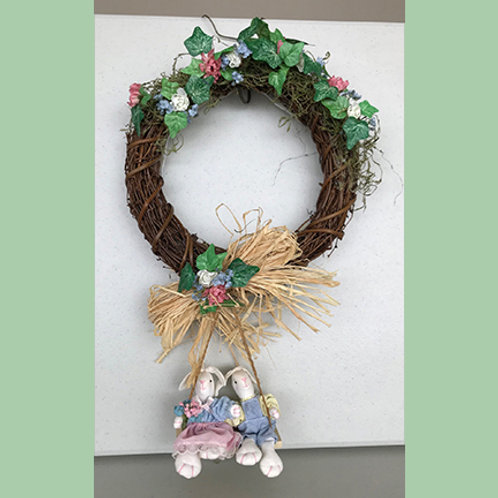 Wreath with Bunnies on a Swing