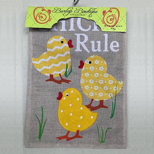 """Chicks Rule"" Burlap Garden Flag"