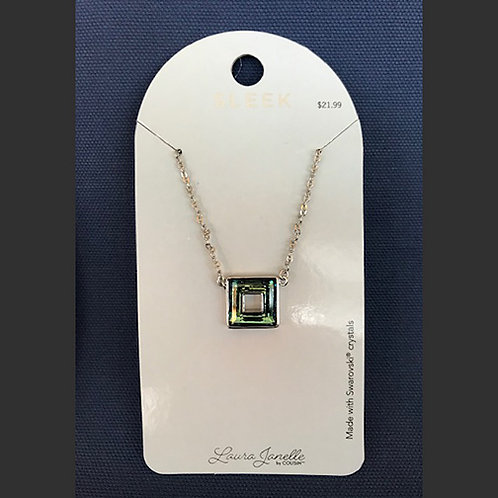 NJ008Blue/Green Crystal Square Necklace