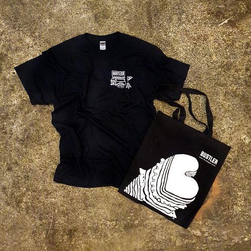 'Bustler Market Since 2017' T-shirt & Tote Bag