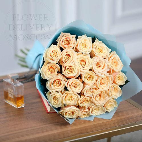 25 кремовых роз Премиум
