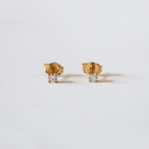 Round Diamond Stud Earrings Single