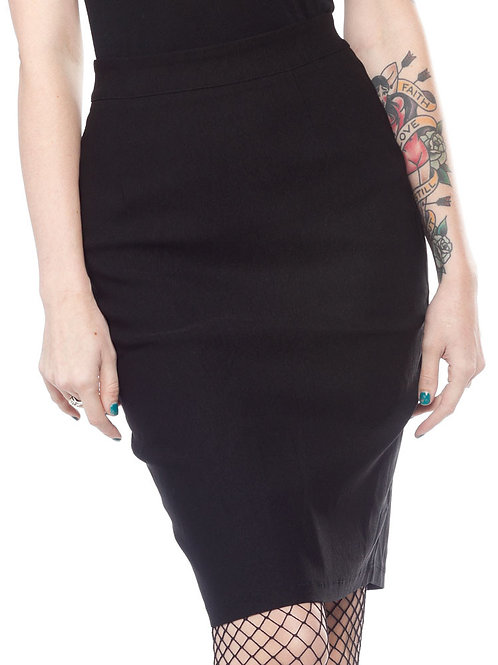 Sourpuss Essential Pencil Skirt Black