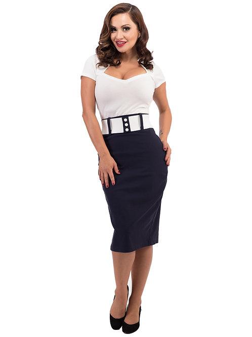 Wiggle Skirt w/Belt in Navy