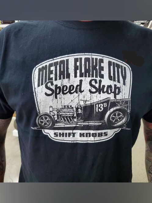 Metal Flake City Speed Shop Shift Knob Shirt
