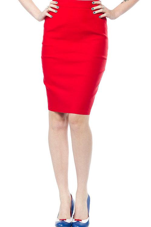 Sourpuss Essential Pencil Skirt Red