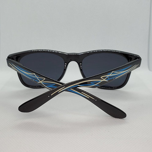Custom Pinstriped Sunglasses - Blue