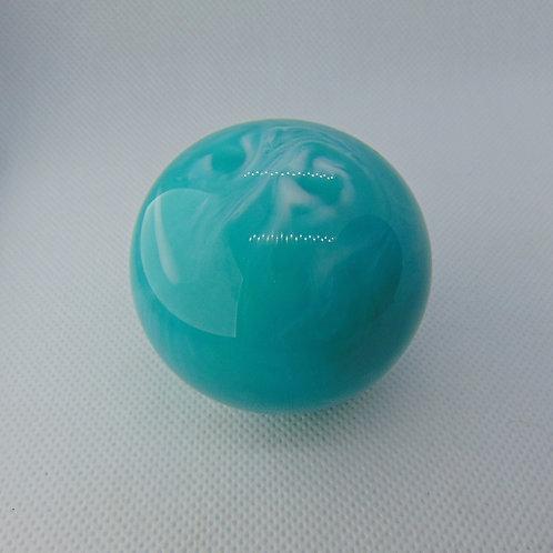Aqua and White Swirl Ball Shift Knob