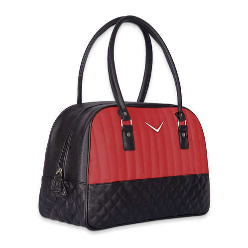 Red Glitter and Black Vegan Leather Chevron Overnight Bag