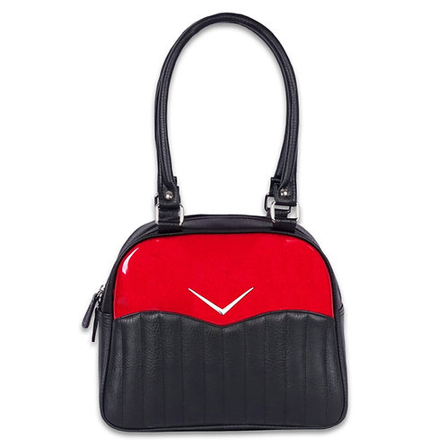 Red and Black Vega Bowler Purse