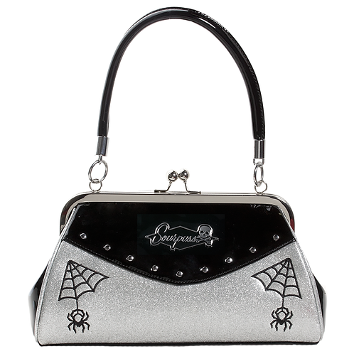 Sourpuss Webbed Widow Purse Silver/Black