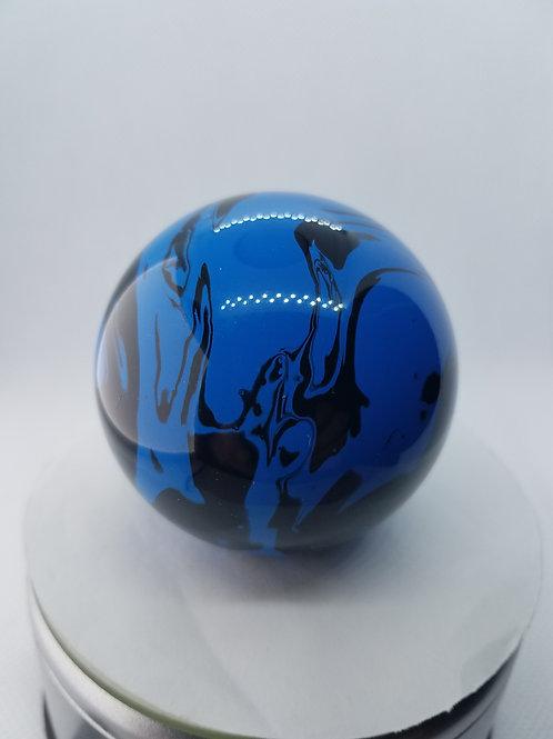 Blue and black swirl floor shift ball
