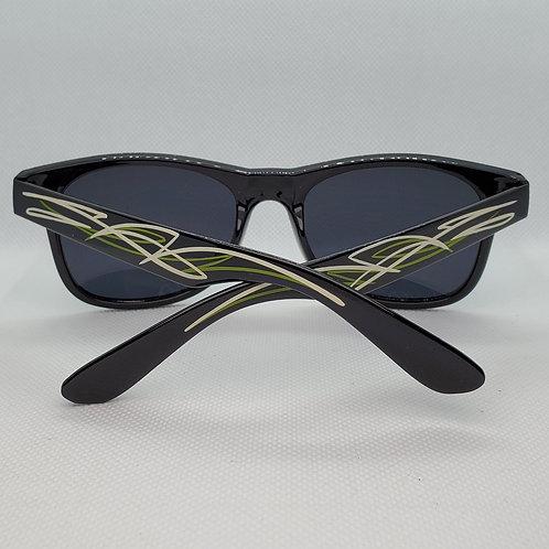 Custom Pinstriped Sunglasses - Green & Cream