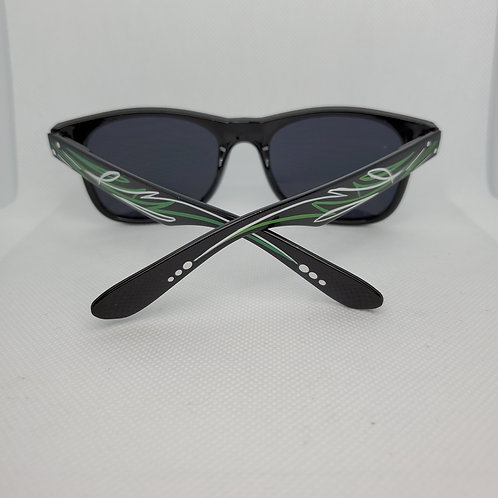 Custom Pinstriped Sunglasses - Green