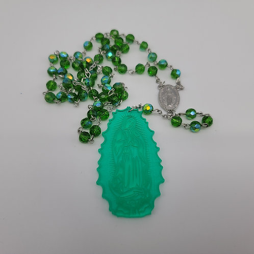 Traditional Guadalupe Rosary for Rearview Mirror