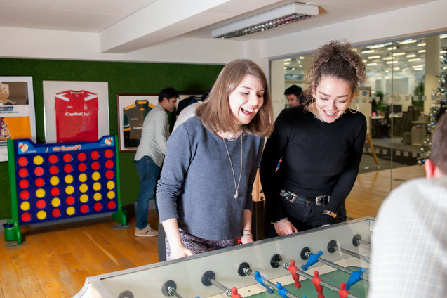 girls playing table football commecial photography Nottingham