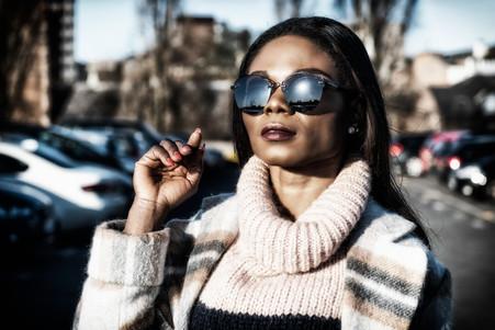 Black model in sunglasses