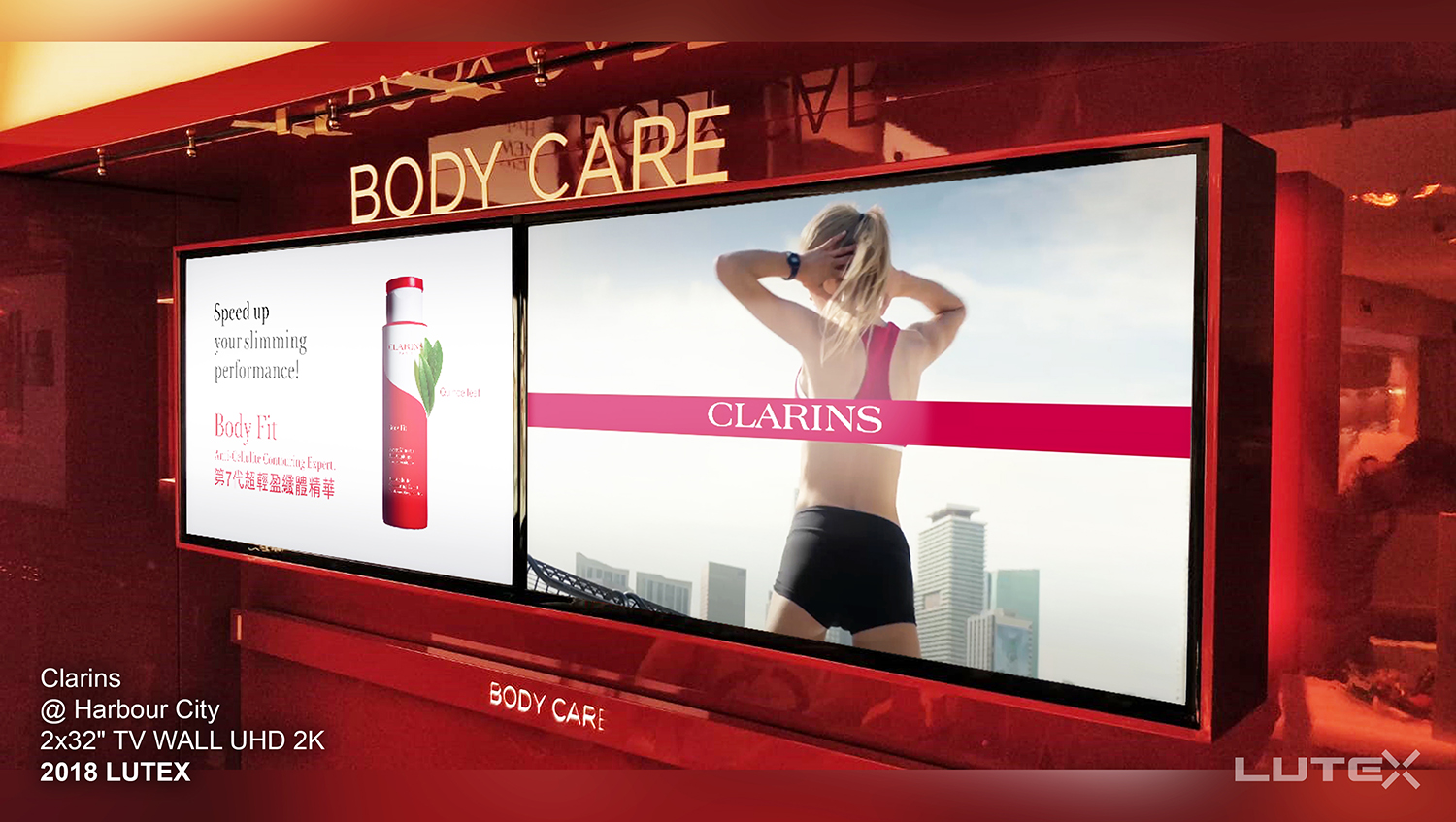 Clarins_2x32 TV WALL UHD 2K