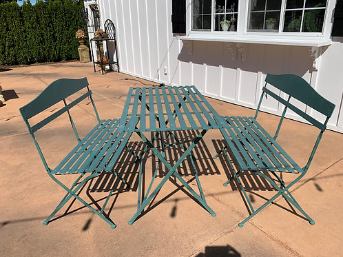 Green Metal Outdoor Dining Bench