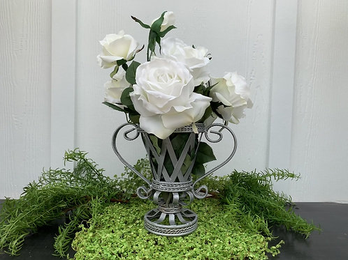 Silver Urn with White Roses