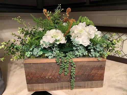 White Floral Arrangement in Wooden Box