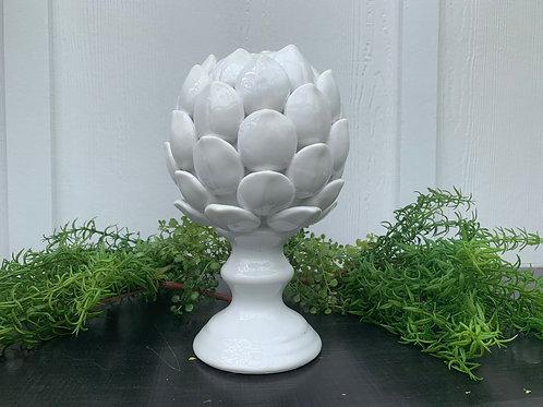 White Ceramic Artichoke Finial