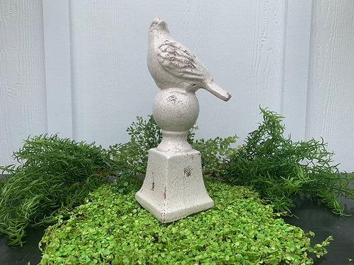 White Crackle Finish Bird Finial-Right